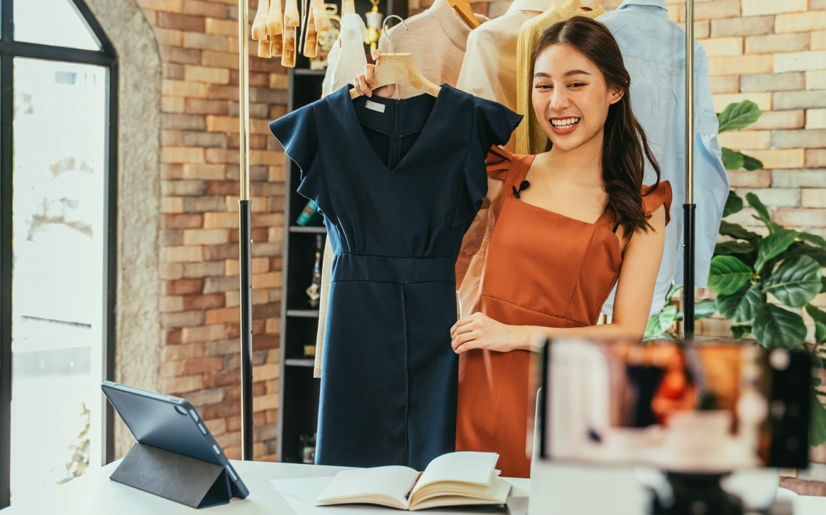 Woman influencer selling clothes online